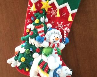 Snowman and Polar Bear Felt Stocking