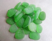 25 Loose Sea Glass - Bulk  Beach Glass - Kelly Green Sea Glass