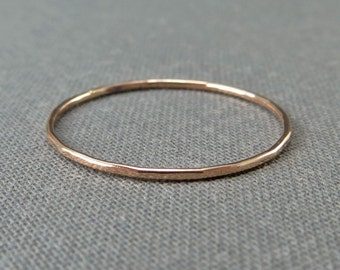 Thin Rose Gold Stackable Ring - 1 Ring - Super Slim 1mm - 14K Rose Gold Filled - Simple Modern Minimal Rings
