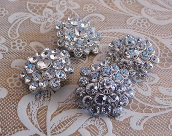 4 Metal and Rhinestone Shank Buttons - Beautiful! 1 1/8 inch