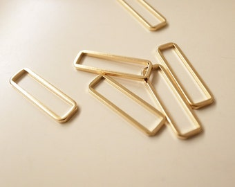 15 pieces of  PLATED thin raw brass tube outline charm in rectangular geometric shape 20 x 6 mm in gold color