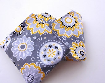 Yellow and Grey Sunshine Reusable Lunch Duo - Sandwich Wrap and Snack Bag