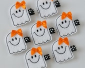 Halloween Smiley Ghost Felt Hair Clip - Cute Halloween Clippies - Fall and Autumn Felt Hair Bows - Black, White and Orange