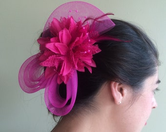 SINAMAY FASCINATOR ,  With Feathers and Pearl, Fuchsia   /  F - 23