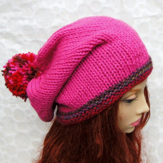 Beanie Knitting Pattern Straight Needles : KNITTING PATTERN/MARTA Slouchy Knit Hat with Giant Pompom Knit
