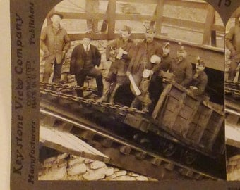 Antique  KEYSTONE Photo 1900s Miners Going into the Slope Hazleton Pa U. S. A. Oil Field  7x3.5
