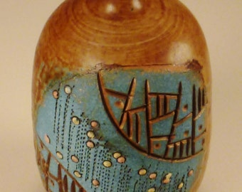 VASE Moderne STUDIO Ceramic Brown and Turquoisecolors  textured glaze 5 x 3 inches