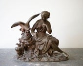 Antique Bronze Statue of Hebe and the Eagle of Zeus, Goddess of Youth, Young Draped Woman, Messenger Bird, Greek Mythology Sculpture