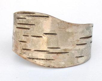 Birch bark wood bracelet, The Chunky Curve
