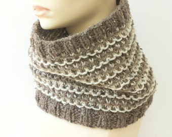 Hand Knit Cowl, Brown Cream Neck Warmer, Vegan Cowl Scarf, Tweed Neutral Earth Tones