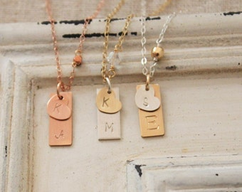Mixed Metal Initial Necklace, Personalized Necklace, Hand Stamped Necklace, Gold and Silver, Two Initial Necklace, Gold Heart Necklace
