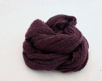Yarn Hand Spun Deep Burgundy Wool Handspun Yarn #22