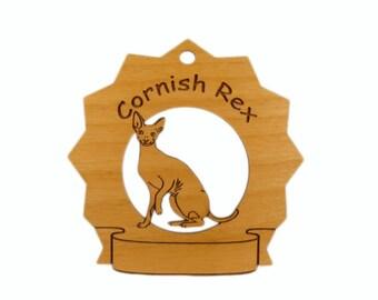 7142 Cornish Rex Cat Personalized Wood Ornament