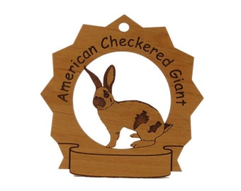 American Checkered Giant Rabbit Personalized Wood Ornament