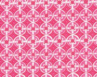 Oolong in Fuchsia Tea Garden Dena Designs Free Spirit Fabric. Pink & White Cotton. Modern Cotton Print.