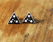 Starry Stud Earrings black and white - laser cut acrylic star zodiac triangle surgical steel studs