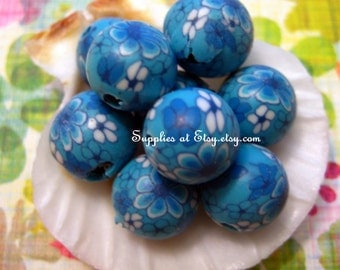 Sale  Organic Polymer Clay Beads Round  beads 10mm-Fancy handmade Floral beads- Foral print  Blue Cobalt  white colors