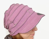 Hemp and Certified Organic Cotton Fleece Slouch Hat with Brim in Violet Mauve fits most heads