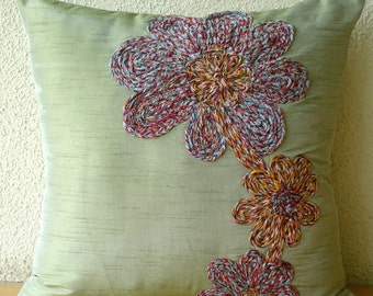 Decorative Throw Pillow Covers Accent Pillow Couch Sofa Bed Pillow Case 16x16 Silk Pillow Cover Embroidered with Jute Cord Colored Flowers