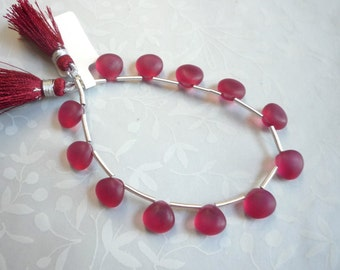 Gleaming Satin Finish Pink Tourmaline Quartz Briolette Beads 1/2 Strand