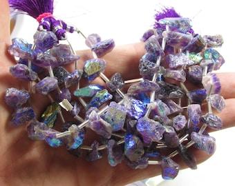Rainbow Mystic Deep Amethyst Nugget Briolette  Beads , Aqua Aura Beads Raw