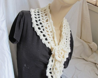 SALE - Cream Flower Accent Scarf (5011)