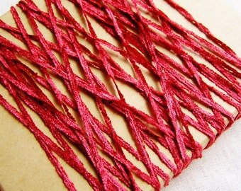 Teaberry red Crushed Chenille Ribbon silky vintage style velveteen trimming wedding party crafts doll miniature crafting 15 yds