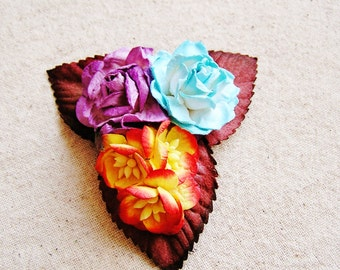 Cherry Buttercream, Purple, Aqua Ombre Mixed bunch Vintage style Millinery Flower spray Bouquet- corsage, floral shabby chic-32514 OOAK