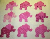 Set of 9 Pink Elephant Iron-on Quilting Clothing Fabric Appliques ...Make Your Own Quilt Blocks