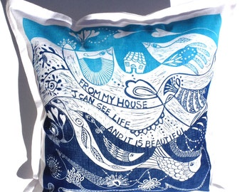 decorative art pillow/Life is beautiful/cushion cover/pillow cover/scatter cushion/sofa cushion/hand printed/linocut/blue and white/birds