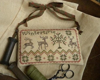 Primitive Cross Stitch Pattern - WINTERTIME