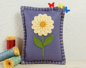 Pincushion • Pin Pillow • Purple Sage with a Buttercream Dahlia • Hand Embroidered • Wool Felt
