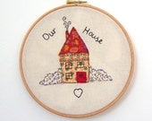 Embroidery hoop art, new home gift, vintage fabric, freemotion stitched, our house, textile art embroidery,