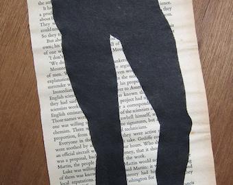 SALE - Legs - original painting on vintage page