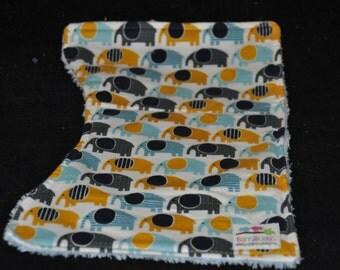 Blue Elephant flannel  burp cloth set with Blue chenille