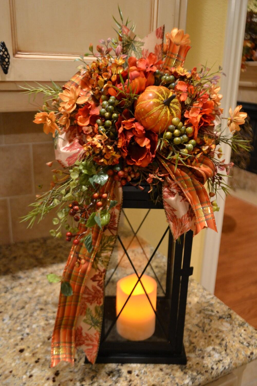 Fall pumpkin lantern swag for Decoracion de mesa para accion de gracias
