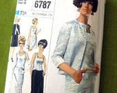 1966 Vintage Designer Fashion Pattern - 2-Piece Dress and Jacket Evening and Cocktail Lengths - Simplicity 6787 // Size 18