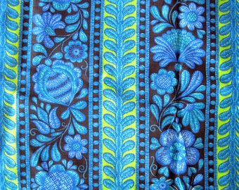 Floral Print Cotton Fabric - Bright Blue and Lime Green Print on Black - Cotton Fabric