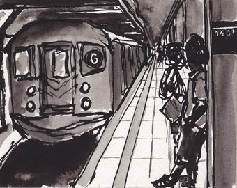 Art Pen and Ink  Sketch Drawing NYC Subway Black and White Print