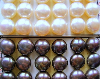 PEARLS, NATURAL, Round, 10mm, Cabochon, Glue on, Stud, White, Peacock, AA,  Brilliant, Earring, Half Diill, Flat Back, I