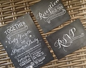 Vintage Chalkboard Kendall Invitation, RSVP Postcard and Reception Card Set