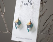 Handmade Origami Earrings, Modular - Green, Gray, Yellow, Orange