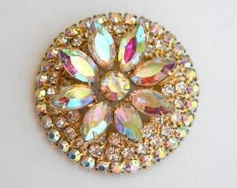 Large DeLizza and Elster (Juliana) Layered Aurora Borealis Rhinestone Brooch