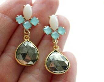 Pyrite stone earrings, bridal jewelry, gold earrings, wedding jewelry