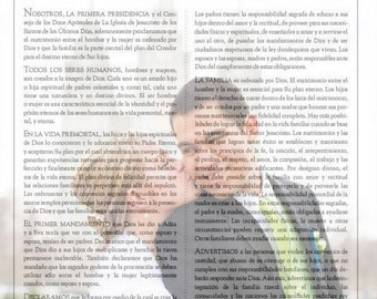 Spanish or Korean version La Familia The Proclamation to the Family- 11x14 emailed copy