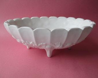 Large Milk Glass Fruit Bowl Vintage Indiana Glass Garland - Cottage Chic