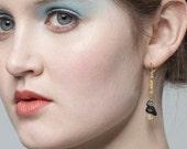 La Luna Earring - Snowflake and Angel Hair Quartz