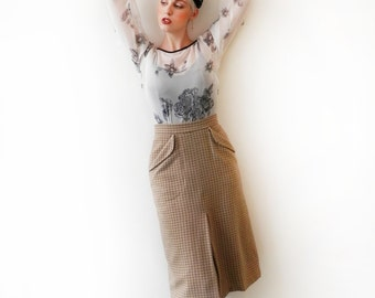 SALE Inverted Pleat Tweed Skirt - 'Firefly Skirt' in bracken