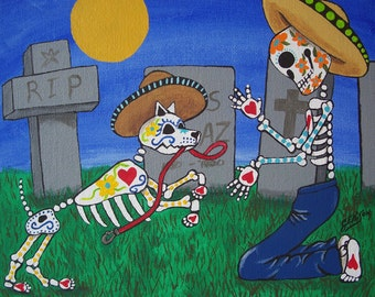 MY FRIEND Folk Art Day of the Dead Dog Puppy DOD Illustrated Art Print Poster Art Ellison Multiple Sizes available