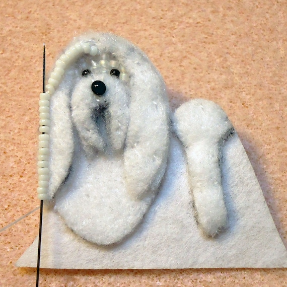 Maltese Dog Knitting Pattern : PDF file: MALTESE Dog Pin Beading Pattern Beaded Animal Bead Embroidery Tutor...